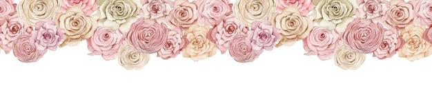 Banner di rose rosa e cremose. intestazione senza soluzione di continuità con belle rose ad acquerelli. illustrazione floreale disegnata a mano senza fine.