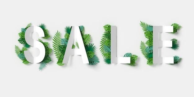 Banner di vendita bianco con carta tagliata e foglie verdi mestiere di carta floreale
