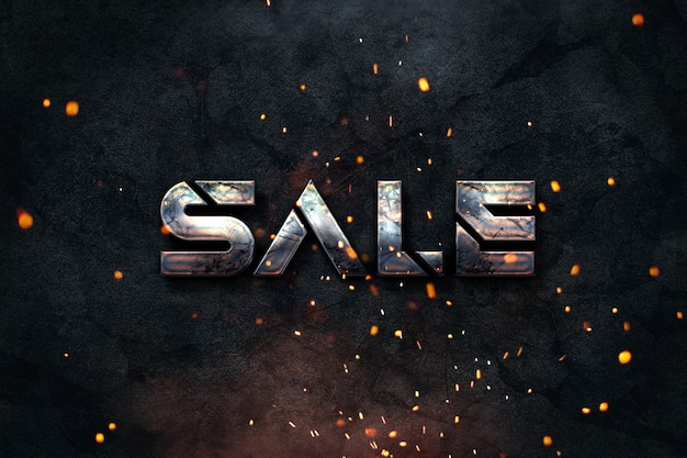 Banner di vendita stile grunge industriale per e-shop o profili di social media con sfondo scuro e un testo metallico arrugginito