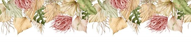 Banner tropicale dell'acquerello intestazione esotica lunga senza soluzione di continuità. palma a ventaglio e piante secche estive. modello di tropici.