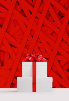 Banner web di buon natale e felice anno nuovo. contenitore di regali bianco e nastro rosso dell'arco sulla striscia di carta rossa casuale. illustrazione di rendering 3d.