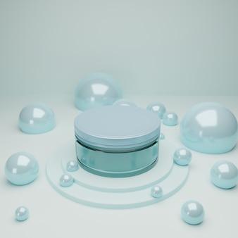 Barattolo cosmetico di vetro blu in podio con bolle d'ardore blu astratte
