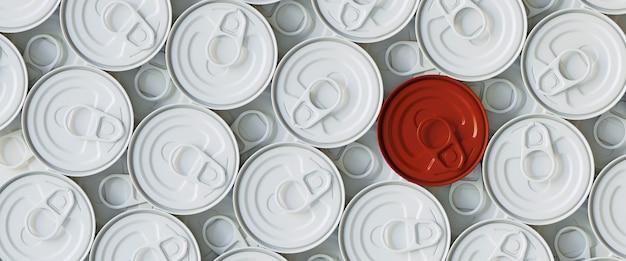 Barattolo di latta rosso e bianco con anello di trazione. illustrazione di rendering 3d.