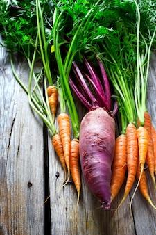 Barbabietola e carote organiche fresche su una tavola di legno