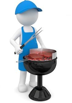 Barbecue maschio bianco dell'illustrazione 3d alla bistecca