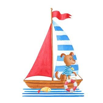 Barca a vela con cane e elementi marini