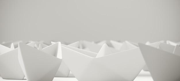 Barca bianca della carta di origami su superficie bianca. illustrazione di rendering 3d.