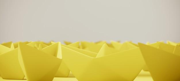 Barca gialla della carta di origami su superficie bianca. illustrazione di rendering 3d.