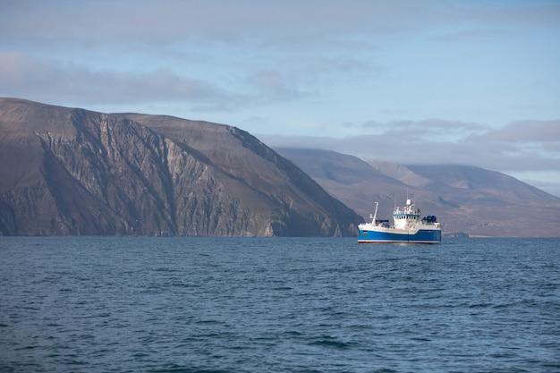 Barca vicino husavik, islanda del nord.