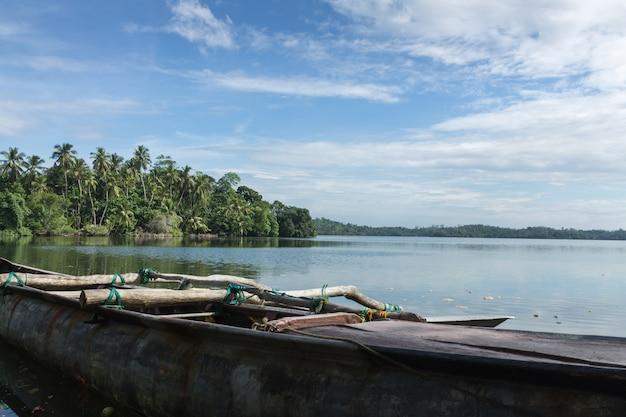 Barche da pesca sul lago, sri lanka.