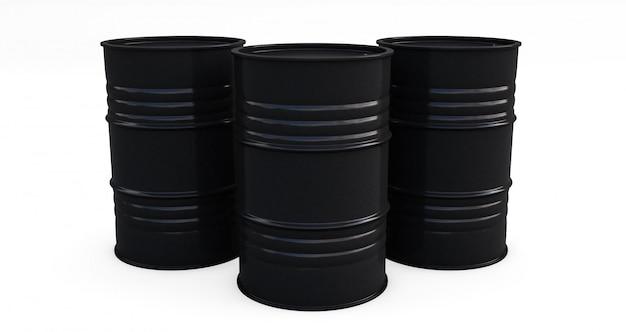 Barili da olio neri su fondo bianco. rendering 3d
