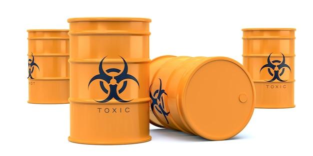 Barilotti di rifiuti tossici giallo a rischio biologico isolati su bianco