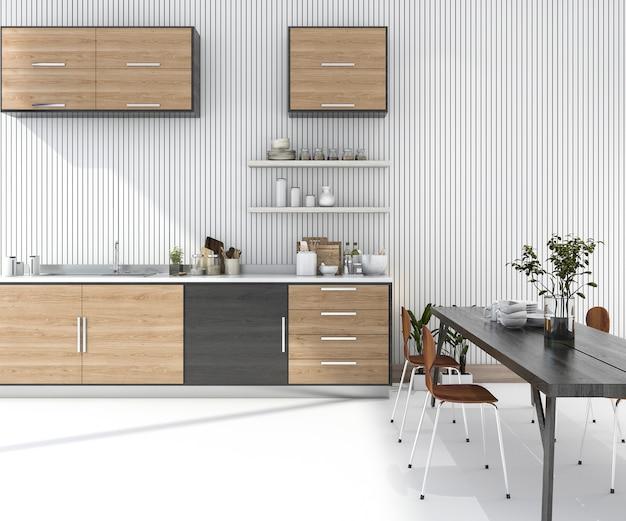 Barra di legno della cucina della rappresentazione 3d con il tavolo da pranzo e la sedia