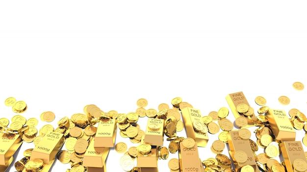 Barre e monete dorate isolate su fondo bianco