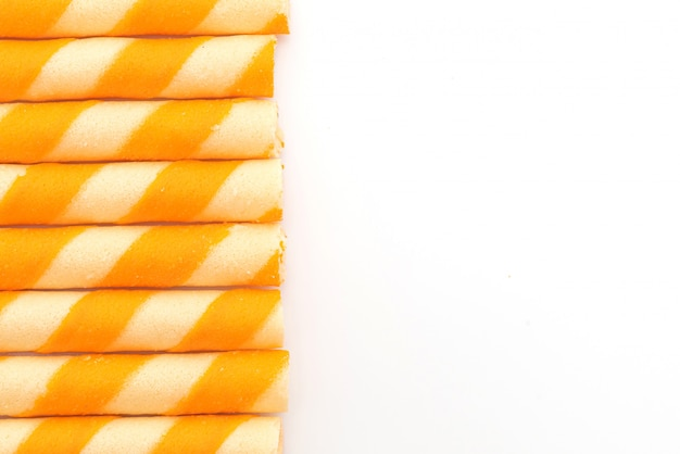 Bastoncini di wafer di biscotti con aroma di crema all'arancia