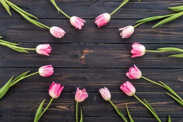 Bei tulipani nel colore pastello rosa su fondo di legno, vista superiore, struttura, confine.