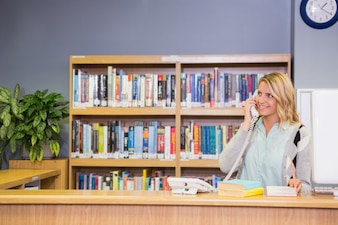 Bel bibliotecario che lavora in biblioteca