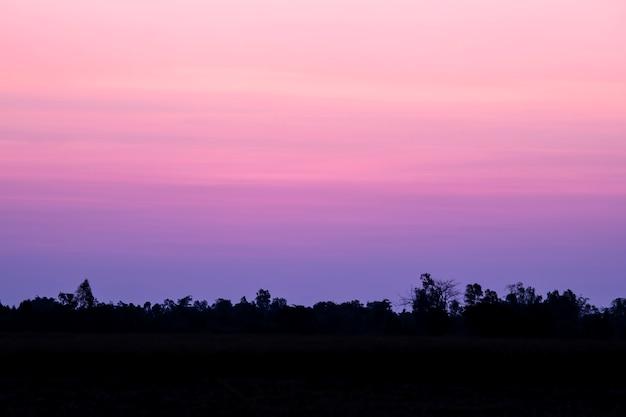 Bel cielo viola al tramonto