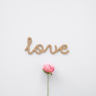 Bel fiore vicino alla scrittura d'amore