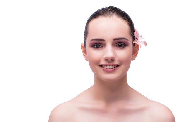 Bel viso di giovane donna isolata