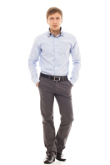 Bell'uomo in una camicia
