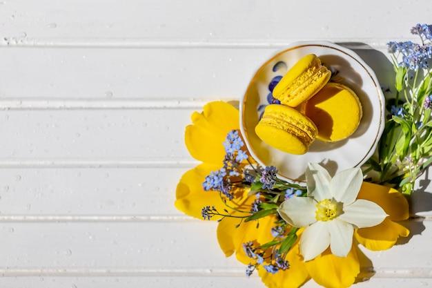 Bella ancora vita con i biscotti del macaron e il dessert di flowers.lemon isolati