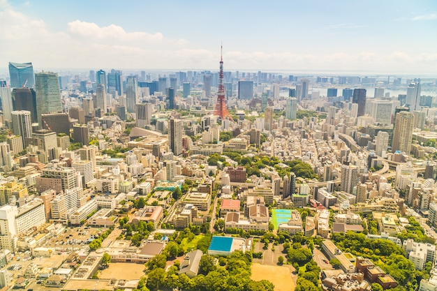Bella architettura che costruisce la città di tokyo con la torre di tokyo