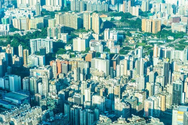Bella architettura che sviluppa paesaggio urbano esterno dell'orizzonte della città di hong kong