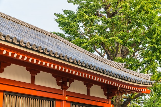 Bella architettura edificio tempio senso è il famoso luogo per visitare nella zona di asakusa