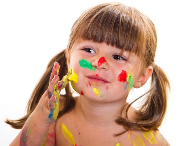 Bella bambina con la faccia dipinta