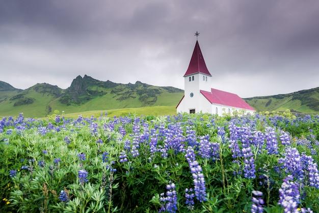 Bella chiesa vicino al villaggio di vik in islanda del sud