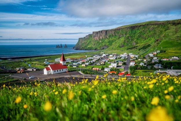 Bella città di vik i myrdal islanda in estate.