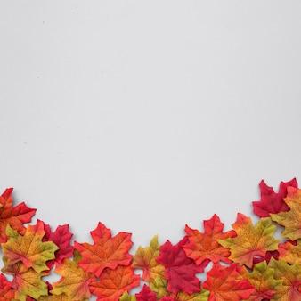 Bella composizione delle foglie di autunno con lo spazio della copia sulla cima su fondo blu-chiaro