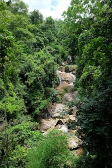 Bella corrente che scorre sulle rocce della foresta pluviale tropicale nel parco nazionale in thailandia