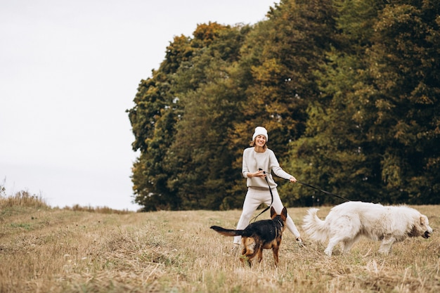 Bella donna che cammina fuori i suoi cani in un campo