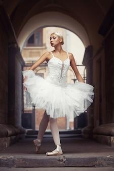 Bella donna di balletto all'aperto