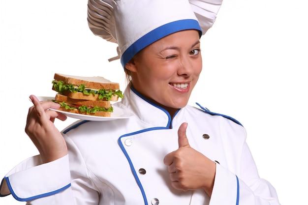 Bella donna in immagine dello chef