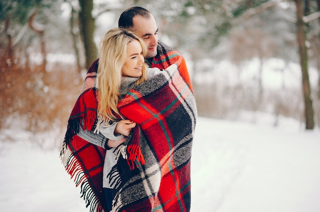 Bella donna in un parco d'inverno con suo marito