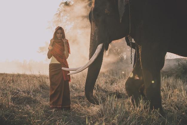 Bella donna tailandese che passa tempo con l'elefante nella giungla
