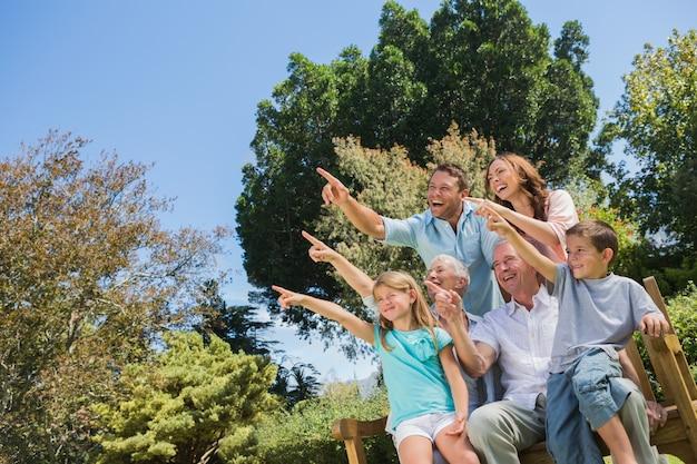 Bella famiglia e nonni che puntano verso il cielo