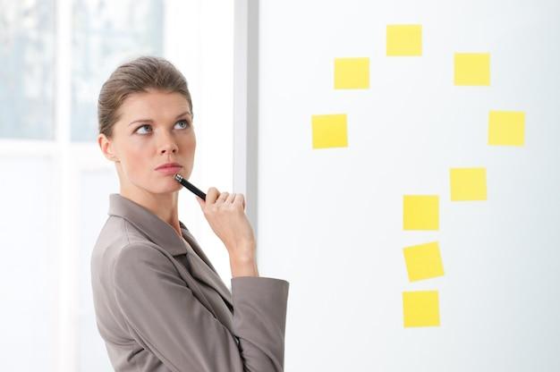 Bella giovane donna d'affari con espressione pensierosa vicino a un punto interrogativo segno di post-it