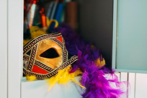 Bella maschera di carnevale con boa di piume viola e giallo in un armadietto