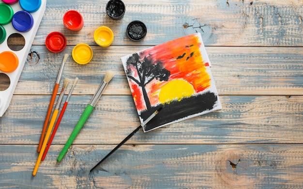 Bella natura pittura con acquerello contenitore e pennello