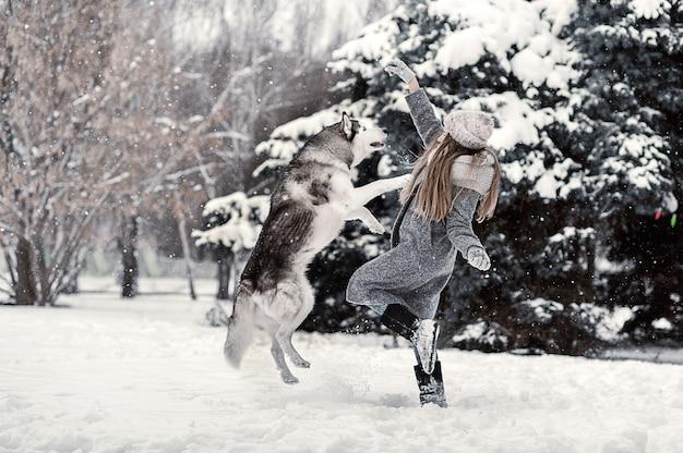 Bella ragazza in un cappotto grigio nella foresta invernale con siberian husky. simbolo del nuovo anno 2018