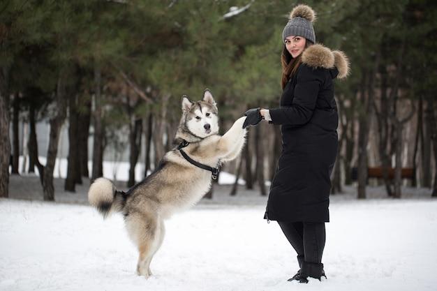 Bella ragazza nella foresta invernale con cane. gioca con il cane siberian husky.