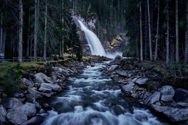 Bella ripresa di un fiume proveniente da una cascata in una foresta con alti abeti rossi