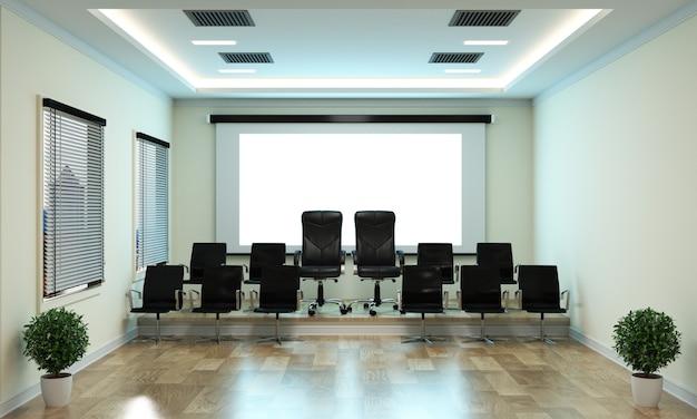 Bella sala riunioni per riunioni e tavolo da conferenza