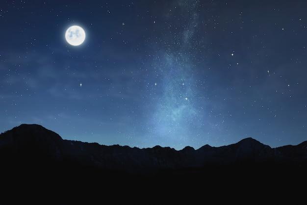 Bella vista del chiaro di luna con le stelle lucenti nel cielo