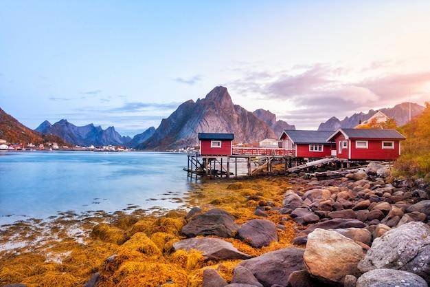 Bella vista del porto di reine nelle isole lofoten, norvegia