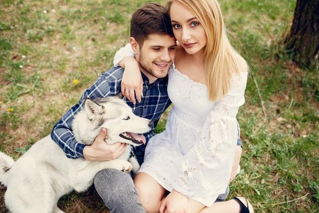 Belle coppie in una foresta di estate con cani